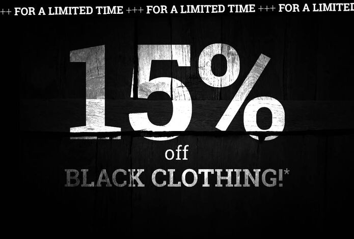 15% off BLACK CLOTHING!