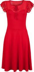 Victoria Red Flutter Sleeve Dress