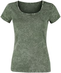 Green T-shirt with Crinkle Wash