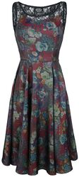 Lilac and Burgundy Floral Swing Dress
