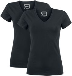 Two Black T-shirts with V-Neckline
