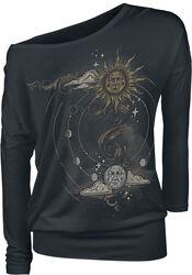 Schwarzes Langarmshirt mit Rundhalsausschnitt und Print