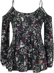 Cold-Shoulder Blouse Black Premium