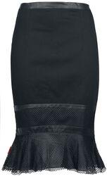 Knee-Length Skirt with Net Hem
