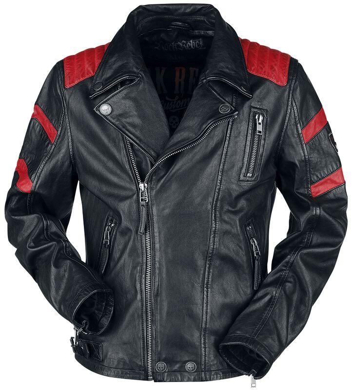 Black/Red Leather Biker Jacket