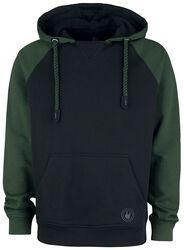 Black/Green Hooded Jumper with Raglan Sleeves