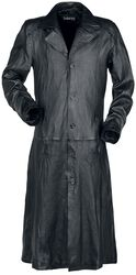 Long Black Leather Coat with Collar